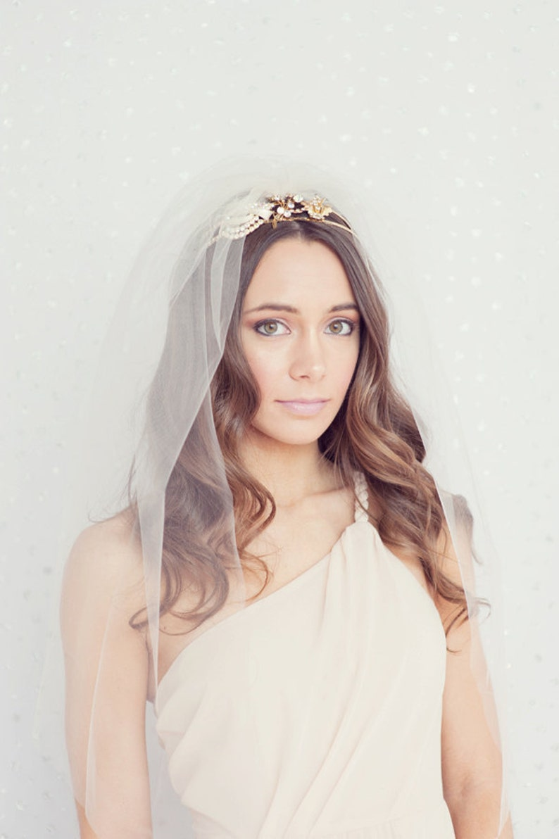double layer and elbow length Bridal tulle veil