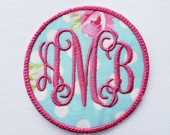 "1 3//4/"" x 2/"" Blue Monogram Block letter A Embroidery Patch"