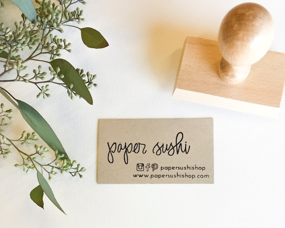 Business Card Stamp Custom 2 34 Business Card Or Etsy Etsy