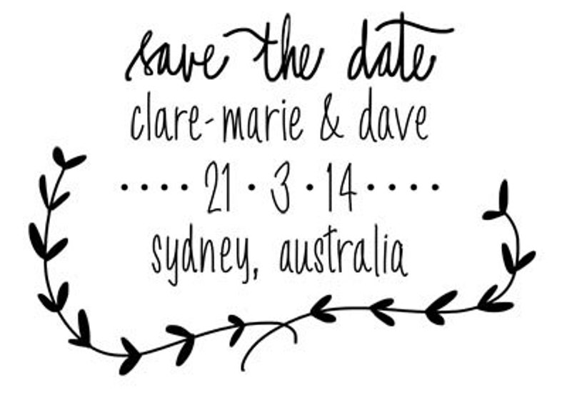 wedding save the date custom wedding stamp for save the date invitations H1003 Custom hand lettered Save the Date stamp