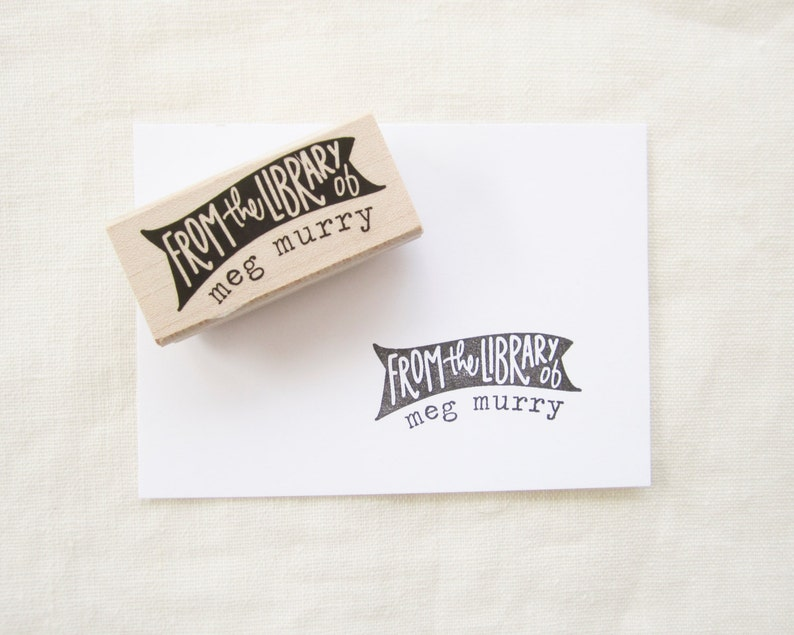 Personalized bookplate stamp  ex libris  from the library of image 0