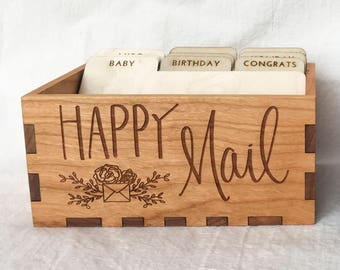 Happy Mail Greeting Card Storage Box - open card box with dividers - A2 card box - stationery box P0043