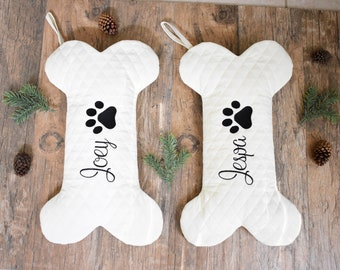 e5df6095656f Personalized Dog Bone Christmas Stocking in Quilted Cream, Dog Bone  Stocking, Pet Stocking, Farmhouse Dog Stocking,