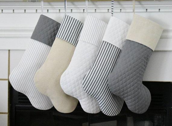 633df5cf6f2 Personalized Farmhouse Christmas Stockings in Gray White Cream