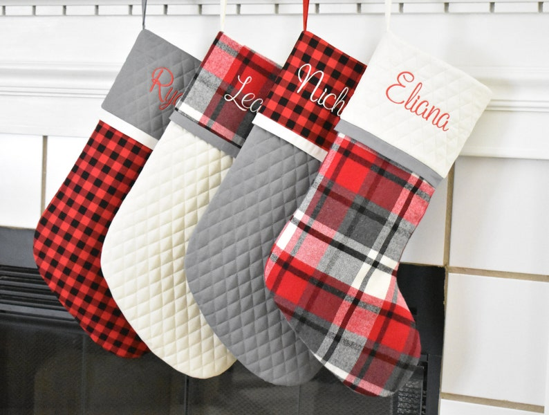 d03eba6822 4 Personalized Quilted Christmas Stockings in Rustic Plaid Red