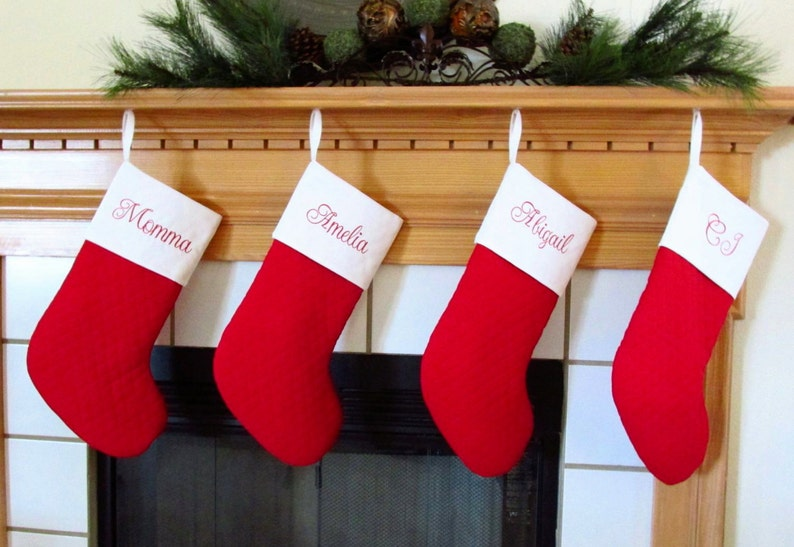 5cdfea93a Set of 4 Quilted Personalized Christmas Stockings in Red and