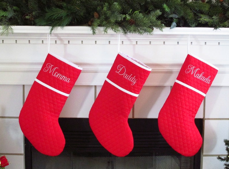 0e74dff10 Set of 3 Personalized Christmas Stockings in Quilted Red with