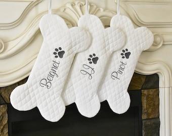 Personalized Dog Bone Christmas Stocking in Quilted White, Dog Bone Stocking, Pet Stocking, Farmhouse Dog Stocking,