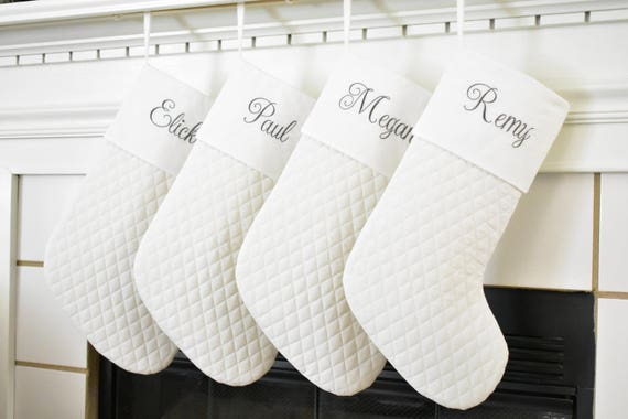 4f797dfff48 Set of 4 White Personalized Christmas Stockings in Quilted