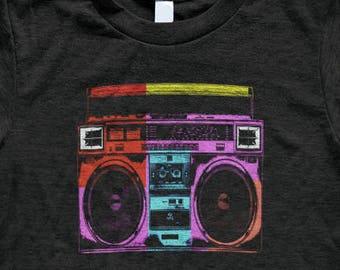 Boombox T Shirt - Tri-Blend Vintage Apparel - Graphic Tees for Men & Women - 80's, Vinyl, Cassette, Rock, Hip Hop, Pop Art