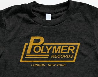 Polymer Records T Shirt - Tri-Blend Vintage Apparel - Graphic Tees for Men & Women