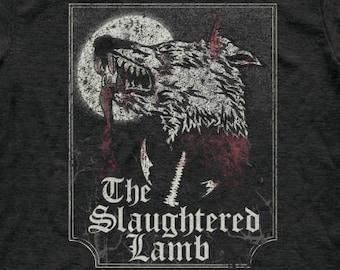 Slaughtered Lamb T Shirt - Tri-Blend Vintage Apparel - Graphic Tees for Men & Women - Retro, Horror, 1980's, Beware The Moon