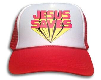 Trucker Cap - Jesus Saves Trucker Hat - Snapback Mesh Cap