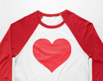 Red Love Heart 3/4 Sleeve Baseball T Shirt - Vintage Cotton/Poly Blend Apparel For Men & Women