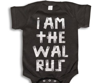 Baby One Piece - I Am The Walrus Baby Clothes - 100% cotton Short Sleeve 6 month to 24 Months - Baby Boy - Baby Girl
