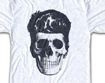 Rockabilly Skull T Shirt - Tri-Blend Vintage Apparel - Graphic Tees for Men & Women - Rockabilly, Skeleton, 50's, Mod