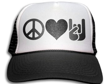bdc1a2e50d1 Trucker Cap - Peace Love And Rock n  Roll Trucker Hat - Snapback Mesh Cap