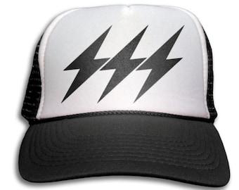 Trucker Cap - Lightning Bolt Trucker Hat - Snapback Mesh Cap