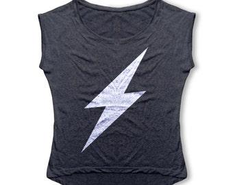 Lightning Bolt T Shirt - Women's T Shirt - Retro Dolman Tri-Blend Vintage Tee - Women's Fashion