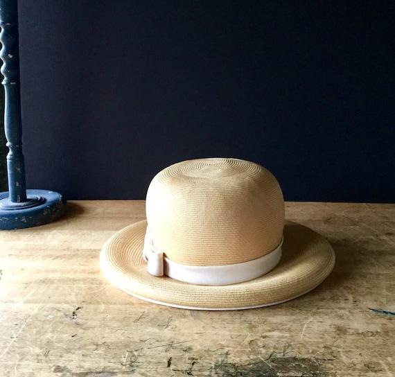Vintage Straw Hat Ladies Straw Hat Spring Hat Summer Hat  48ee44814ef