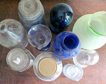 Vintage Apothecary Bottles, Antique Glass, Antique Medicine Bottles, Apothecary Jars, Old Glass Bottles, Blue Glass Bottles, Green Glass