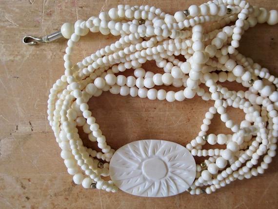 Vintage Celluloid Necklace, Celluloid Choker, Carv
