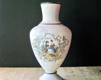 Pink Glass Courting Couple Vase, Vintage Glass Vase, Large Vase, Wedding Engagement Gift, Antique Pink Vase, Moriage Vase, Victorian Vase
