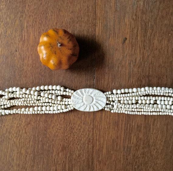 Vintage Celluloid Necklace, Celluloid Choker, Car… - image 2