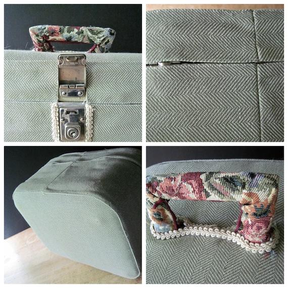 Vintage Train Case, Small Vintage Suitcase, Cosme… - image 5