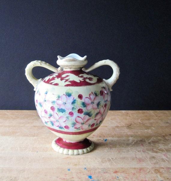 Antique Nippon Vase Antique Nippon Urn Footed Vase Nippon Etsy