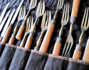 Antique French Brass and Celluloid Flatware Set, Antique Dessert Forks, Patisserie Forks, Antique Brass, Made in France, French Vintage