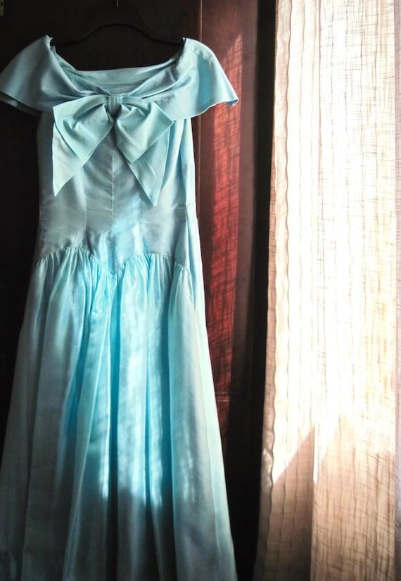 Vintage Aqua Prom Dress, Rockabilly, Bridesmaid Dr