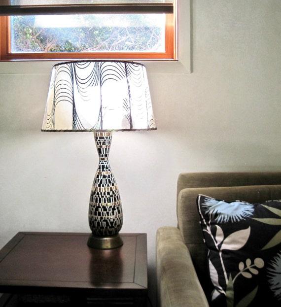 Mid Century Modern Table Lamp Black Gold Cream Table Lamp Etsy