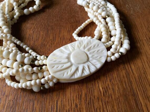 Vintage Celluloid Necklace, Celluloid Choker, Car… - image 3
