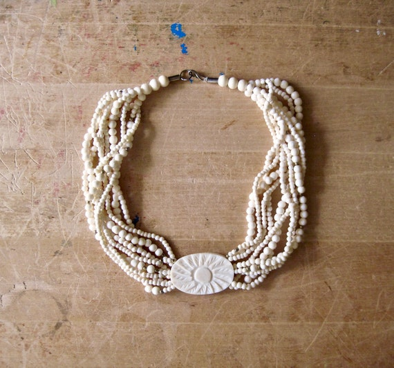 Vintage Celluloid Necklace, Celluloid Choker, Car… - image 7
