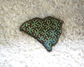 South Carolina Trinket Dish, Handmade Ceramic Jewelry Dish
