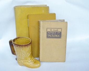 Vintage Shabby Books in Mustard. Gold shabby hardback books. Set of 3 vintage books. Vintage reading. Book decor