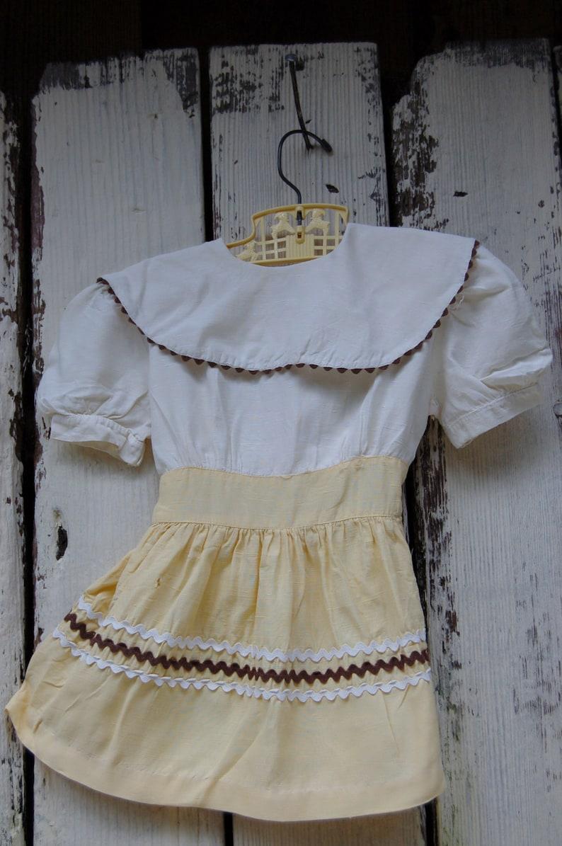 Size 2T4T toddler dress with rick rack Vintage Toddler Shabby dress Yellow toddler dress