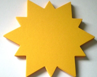 Large Yellow Die Cut Cardstock Suns - 12