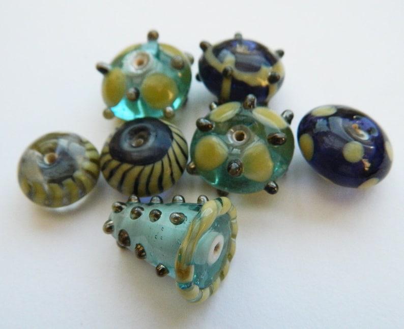 purple glass Unusual Stunning handmade glass Lampwork bead collection,mixed Lamp work beads,Artisan  lampwork beads cone bead green silver