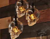 Glass Skull Bottle 3 Light Pendant Chandelier with Customizable Finish and Edison Bulbs - Spooky Halloween Decor - Day of the Dead Decor