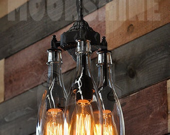 Recycled bottle light chandelier the marquis gin with recycled bottle chandelier the marquis clear 3 light hanging pendant customizable finish vintage style edison bulbs rustic lighting aloadofball Gallery