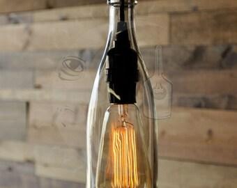 Beau Clear Wine Bottle Hanging Pendant Lamp   Recycled Glass Bottle   Bottle  Light   Farmhouse Light   Modern Rustic Decor   Vintage Style Bulb