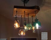 "The Big Sur 24"" - Glass and Wood Chandelier With Colored Recycled Glass Bottles and Vintage Style Edison Bulbs - Farmhouse Light"