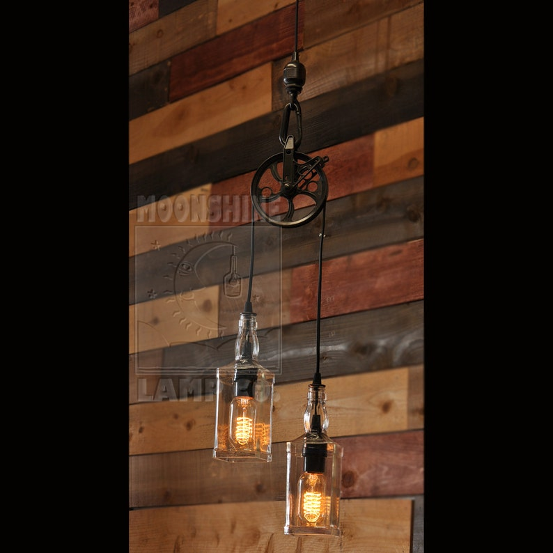 677546d2c92e The Warehouser - Rustic Farmhouse Pendant Chandelier Pulley Lamp -  Industrial Lighting - Factory Lighting
