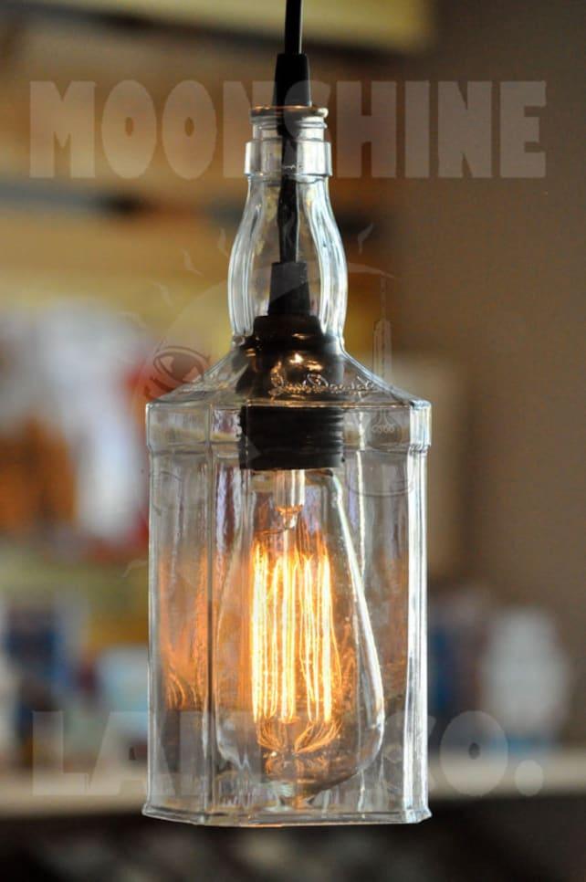 image 0 Recycled Whiskey Bottle Hanging Pendant