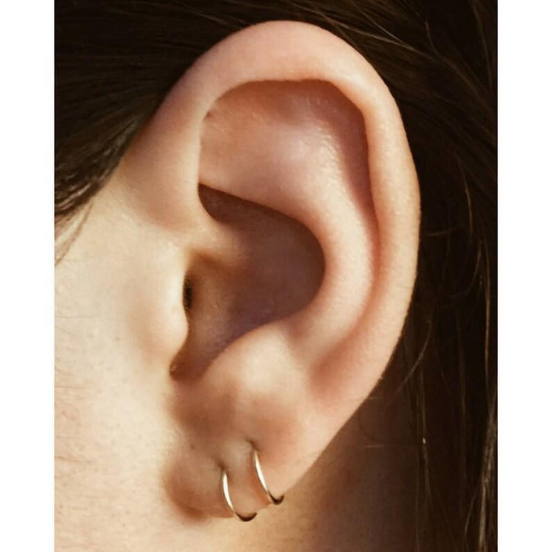 fcb20e3ff Tiny Hoop Earrings PAIR / Cartilage Earrings / Gold Hoops / | Etsy