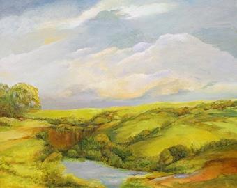 "Large landscape 24""x30"" unframed California hills After the rain Jan Smiley"