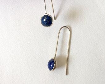 Lapis Lazuli Sterling Silver Earrings Blue Earrings Natural Stone Jewelry