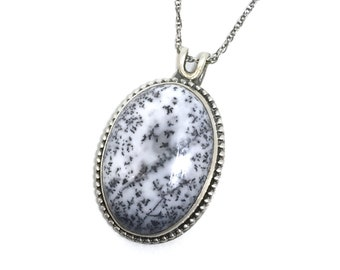 Vermont Sugaring 1 Pendant Maple Syrup Dendritic Opal Sterling Silver Pendant Nature Jewelry Gemstone Pendant Gemstone Nature Wedding